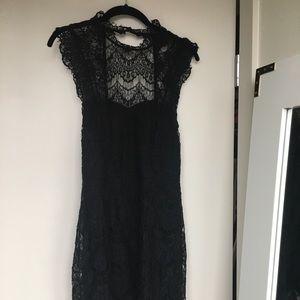 Intimately free people black lace dress M
